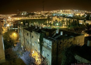 jersalem wall at night