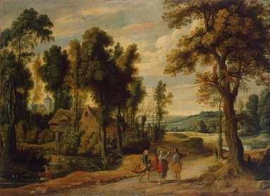 Jan Wildens: Landscape with Christ and his Disciples on the Road to Emmaus