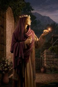 virgin with lamp