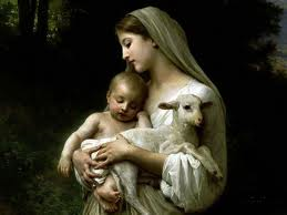 madonna and child and lamb