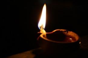 lamp in dark