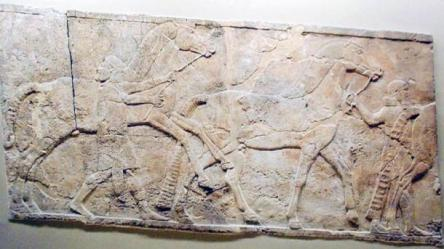 Assyrian Wall Carving of Horses and Grooms