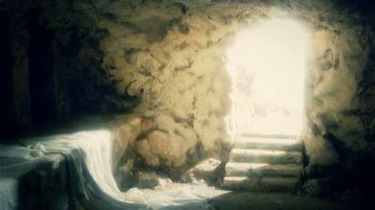 empty tomb with sheet and light