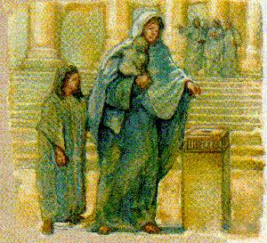 A widow contruibutes two small coins to the Temple treasury