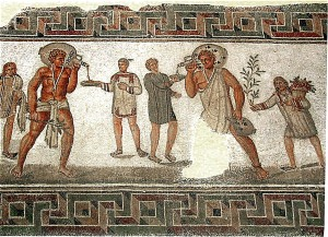 Dougga, Tunisia: Roman mosaic with slaves carrying wine jars