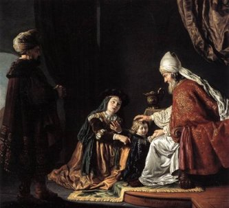 Jan Victors: Hannah Giving her son Samuel to the priest Eli