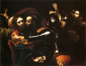 Caravaggio: The Taking of Jesus Judas betrays Jesus with a kiss