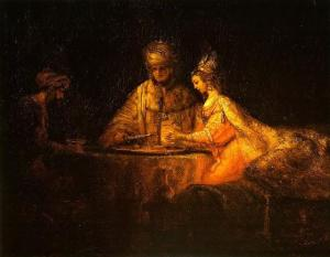 Rembrandt: Ahasuerus and Haman at the Feast of Esther