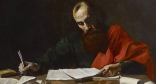 A 17th Century depiction of Paul writing his epistles