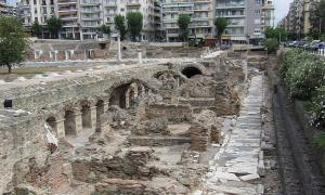 The Roman Market in old Thessaloniki - with new Thessaloniki in the backgroud