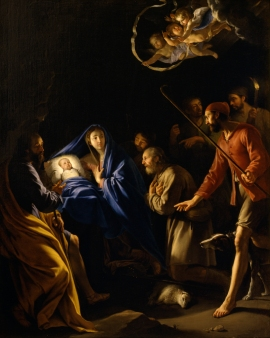 Philippe de Champaigne: The Adoration of the Shepherds, 1640, oil on canvas, Gift of Dr. and Mrs. Edwin Binney, 3rd, no known copyright restrictions, 66.83