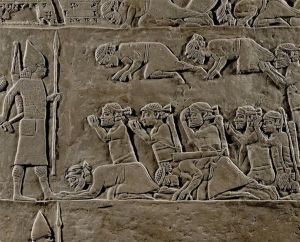 Elamiat captives and Assyrian officer. Relief from Ashurpanibal palace Nineveh, Iraq